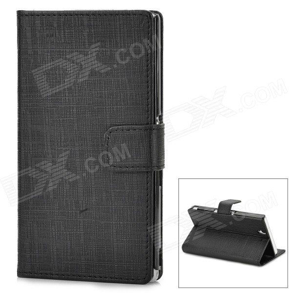 Protective PU Leather Flip Open Stand Case w/ Card Slot for Sony L36H - Black protective flip open pu case w stand card slots for samsung galaxy s4 active i9295 black
