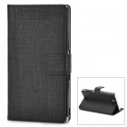 Protective PU Leather Flip Open Stand Case w/ Card Slot for Sony L36H - Black