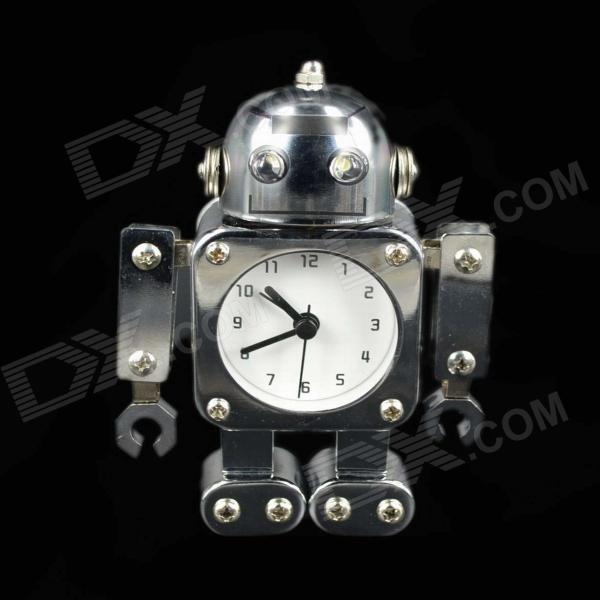 Unique Robot Style Metal Alarm Clock w/ 2-LED White Light - Silver + White + Black (2 x AAA)