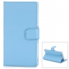 Protective PU Leather Flip Open Stand Case w/ Card Slot for Sony L36H - Blue