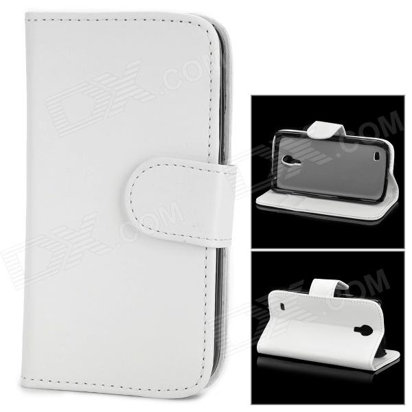 Protective PU Leather Flip Open Wallet Case for Samsung Galaxy S4 Mini / i9190 - White