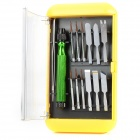 Multi-Functional 14-in-1 Screwdrivers Repair Tools Kit for Iphone / Ipod - Silver + Green