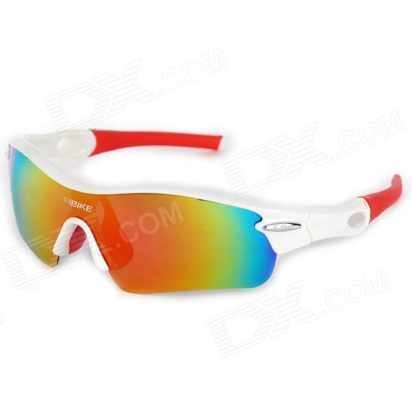 NBIKE 9311-c4 Outdoor Cycling UV Protection Polarized Sunglasses - White + Red