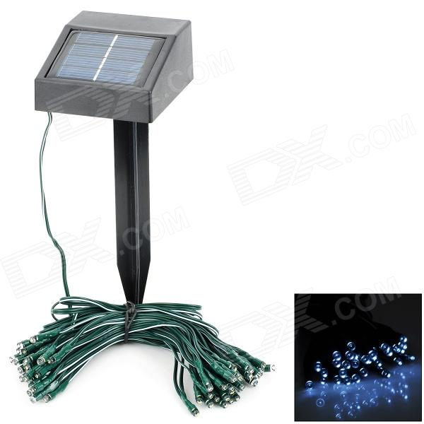 Waterproof Solar 0.4W 5lm 6500K 60-LED White Light Strip - Black + Green (11m)