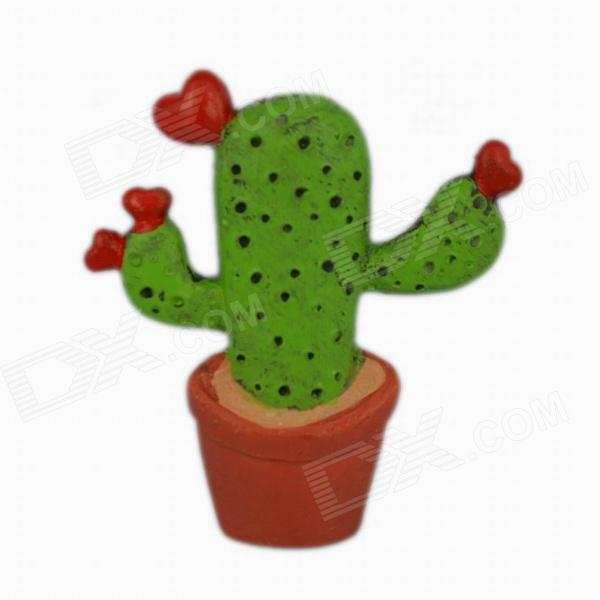 Creative Cactus Style Refrigerator Magnetic Sticker - Green + Red + Brown