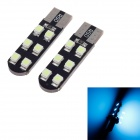 T10 1.2W 120lm 450nm 12-SMD 3528 LED Ice Blue Light Car Steering Lamps (12V / 2 PCS)