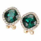 KCCHSTAR Fashion 3D Diamond Crystal Earbud - Golden + Green (Pair)
