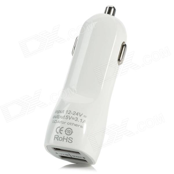 5V 3.1A Car Cigarette Powered Charging Adapter Charger for Iphone 4 / 4S / 5 - White