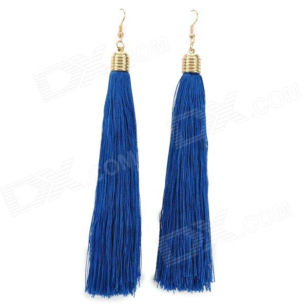 Fashion Long Cloth Tassels Drop Earrings for Women - Blue 16 characters 2 lines character lcd1602 module blue backlight