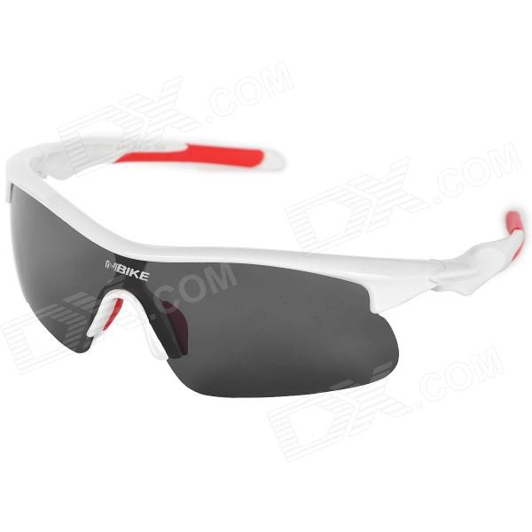 NBIKE 9356-C6 Fashion Outdoor Cycling UV Protection Polarized Sunglasses - White + Red