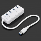 XCW-87 High Speed 4-Port USB 3.0 Hub w/ Switches / LED Indicators - White