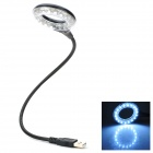 005 USB Powered Flexible Desktop 18-LED Table Light - Black + Silver + White