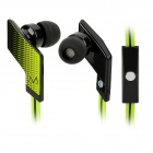 MAYA E18S In-Ear Flat Cable Earphones w/ Microphone / Clip / 3.5mm Plug - Fluorescent Green + Black