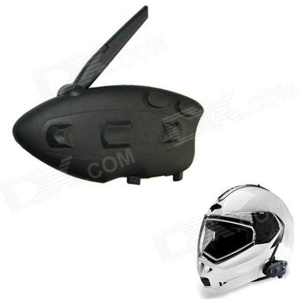 BT-12082 Racing  / Motorcycle / Bicycle / Ski Helmet 500m Intercom Bluetooth Interphone - Black bluetooth motorcycle helmet intercom v5 1200m bt moto interphone waterproof headset support mp3 gps phone for 5riders with fm