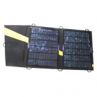 Foldable 13W Solar Power Charger w/ Dual Output USB + Adapter for Cellphone / DC  + More - Black