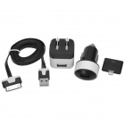 3-in-1 USB Car Charger + 2-Flat-Pin Plug Power Adapter Set for iPhone 4 / 4S / 5 - Black + White