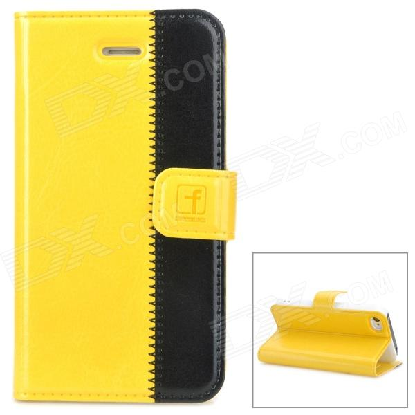 Stylish Protective Genuine Leather Case for Iphone 4 / 4S - Yellow + Black stylish protective pu leather case w magnetic closure for iphone 4 4s black