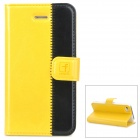 Stylish Protective Genuine Leather Case for Iphone 4 / 4S - Yellow + Black