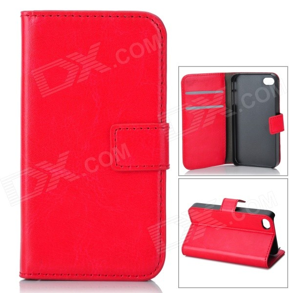 Stylish Protective Genuine Leather Case for Iphone 4 / 4S - Red + Black 1more super bass headphones black and red
