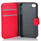 Stylish Protective Genuine Leather Case for Iphone 4 / 4S - Red + Black