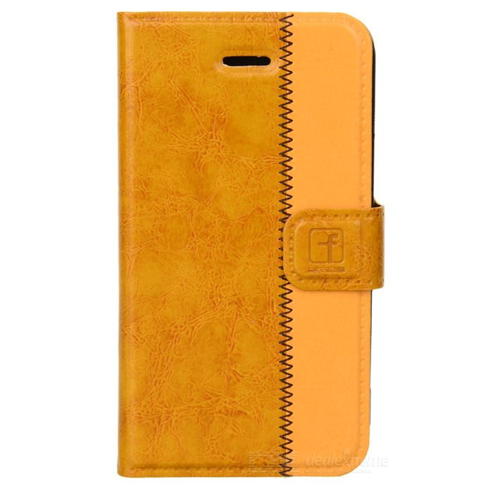 все цены на Stylish Protective Genuine Leather Case for Iphone 4 / 4S - Brown + Yellow онлайн