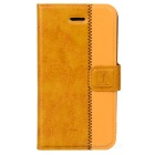 Stylish Protective Genuine Leather Case for Iphone 4 / 4S - Brown + Yellow