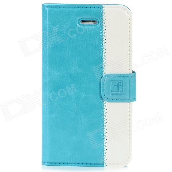 Stylish Protective Genuine Leather Case for Iphone 4 / 4S - Blue + White cm04 colorful bubble pattern protective silicone case for iphone 4 4s white blue