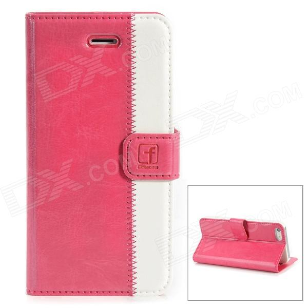 Stylish Protective Genuine Leather Case for Iphone 5 - Deep Pink + White чехол для iphone 5 глянцевый с полной запечаткой printio ember spirit dota 2