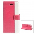 Stylish Protective Genuine Leather Case for Iphone 5 - Deep Pink + White