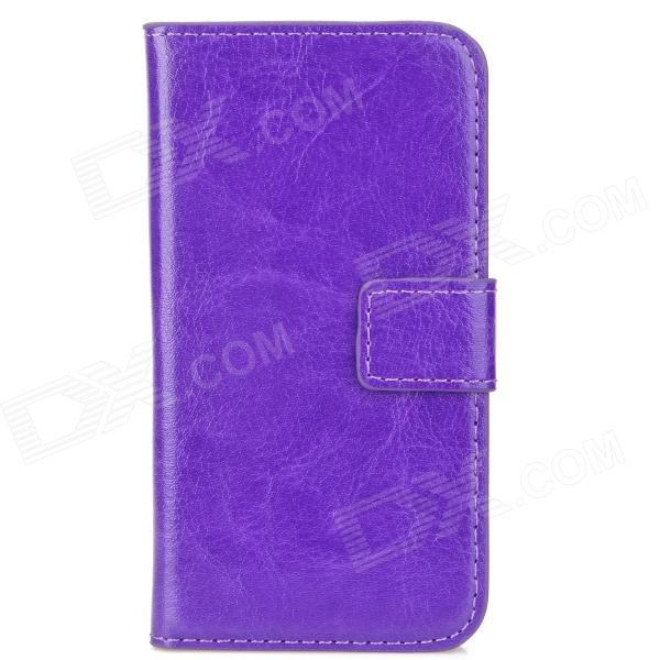 Stylish Protective PU Leather Case w/ Card Holder Slots for Iphone 4 / 4S - Purple stylish protective pu leather case w magnetic closure for iphone 4 4s black