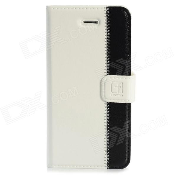 Stylish Protective Genuine Leather Case for Iphone 5 - White + Black stylish protective pu leather case for iphone 5c white transparent black