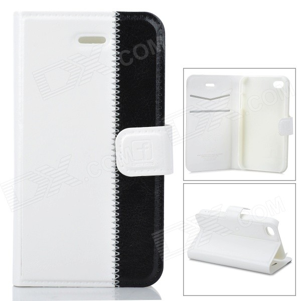 Stylish Protective Genuine Leather Case for Iphone 4 / 4S - White + Black stylish protective leather case for iphone 4 4s black