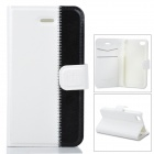 Stylish Protective Genuine Leather Case for Iphone 4 / 4S - White + Black