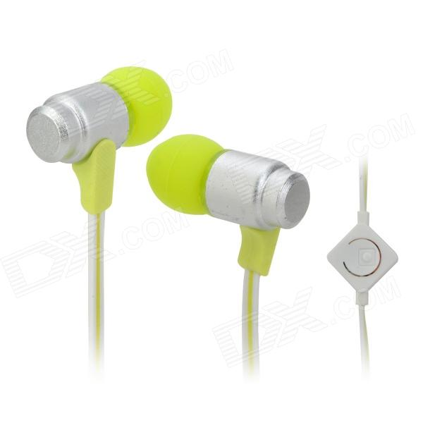 Wallytech WHF-116 In-Ear Earphone w/ Microphone for Iphone / Ipad / Ipod / HTC - Fluorescent Green