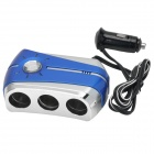 3-Socket Car Cigarette Lighter Power Splitter Adapter w/ Artificial Diamond / LED - Blue (DC 12~24V)