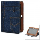 Stylish Denim Pattern PU Leather + Canvas Stand Case for Samsung N8000 - Blue