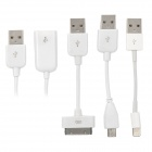 4-in-1 USB to 30pin / 8pin Lightning / Micro USB Charging / Data Cable - White