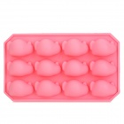 GEL063003 Creative 12-Penguin Style Cups Silicone Food Ice / Cake / Bread Mold - Pink