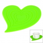 GEL062801 Heart Shaped Anti-slip Heat Insulation Mat / Pad for Dishware / Cup - Green