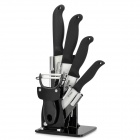 "TJC TJC-018 6-in-1 Zirconia Kitchen 4"" 5"" 6"" Ceramic Knives + Peeler + Holder - Black + White"