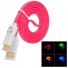 USB to 8-Pin Lightning Data/Charging Cable w/ Smiley Face Light for iPhone 5 / iPad 4 - Deep Pink