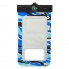 PVC Waterproof Bag w./ Arm Band + Strap for Samsung Galaxy I9300 / I9500 - Camouflage Blue + Black