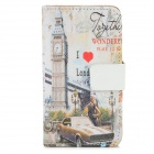 Big Ben Pattern Protective PU Leather Flip-Open Case for Iphone 4 / 4S - White + Red + Black