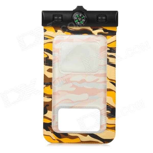 PVC Waterproof Bag w./ Arm Band + Strap for Samsung Galaxy I9300 / I9500 - Camouflage Yellow + Black universal waterproof bag protective mobile phone bag w arm band strap orange black