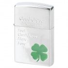 Lucky Fourleaf Clover Style Zinc Alloy Windproof Butane Gas Lighter - Silver + Green