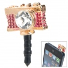 Stylish Mini Camera Shaped Pendant w/ Shiny Crystal Anti-dust Plug for Cellphone - Golden + Pink