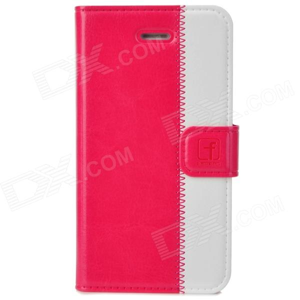 Stylish Protective Genuine Leather Case for Iphone 4 / 4S - Deep Pink + White stylish bubble pattern protective silicone abs back case front frame case for iphone 4 4s