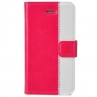Stylish Protective Genuine Leather Case for Iphone 4 / 4S - Deep Pink + White