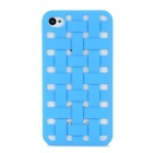 NEWTOP Ultra-Thin Hollow Braided Design Plastic Back Case for Iphone 4 / 4S - Blue