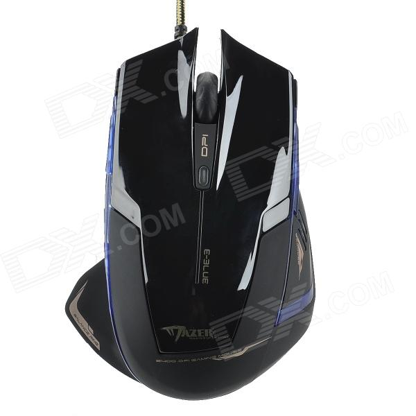 E-3LUE EMS124BKC USB Wired Optical Mouse w/ Blue Light - Black + Blue